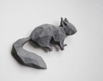 Squirrel Reflective 3D printed Polygonal Brooche