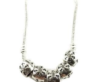 ON SALE 5 Silver Snowflake Spacer Bead, CZ White Rhinestone Spacer Beads, Large Hole Beads, European Bracelet, European Charm Beads, EB1187