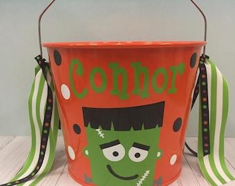 Halloween Bucket-Personalized halloween trick or treat metal bucket -5 quart pail - Frankenstein Bucket- candy pail- candy bag - birthday