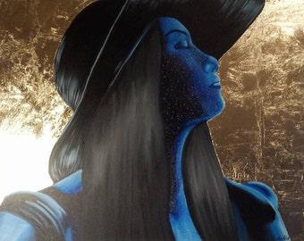 "Acrylic and Gold Leaf painting ""Galaxy Woman"", original art, canvas art, modern art, modern painting"