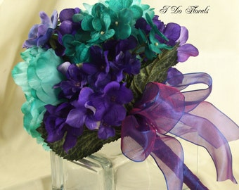 Teal and Purple Wedding Bouquet, Assorted Flowers Bridal Bouquet, Bridesmaid Bouquet, Brides Bouquet, Purple Wedding Bouquet, Teal Bridal