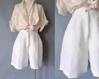 Vintage linen shorts/ high waist shorts/ minimalist linen shorts women's size S/M