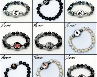 """Stretch elastic Bead Bracelet """"Johnny Hallyday"""" with 1 snap button, Chunk, charm, ginger snap, Noosa Style, press-button,"""