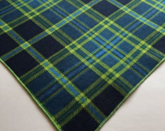 Dog Bandana, Navy, Green, Plaid 100%Cotton, Soft/lightweight Flannel, Traditional Tie On, Dog Gift, Dog Collar Scarf Neckerchief