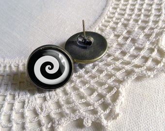 Uzumaki Black Spiral Stud Earrings