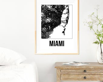 Miami City Map Print - Black and White Minimalist City Map - Miami Map - Miami Print - Many Sizes/Colours Available