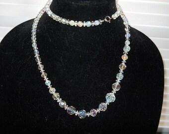 Vintage Long Crystal Necklace #801