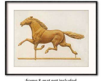 "Printable Racehorse Art (Digital Download Gold Horse Decor, Antique Weathervane for Wall)-- 1939 ""Horse Weather Vane"""