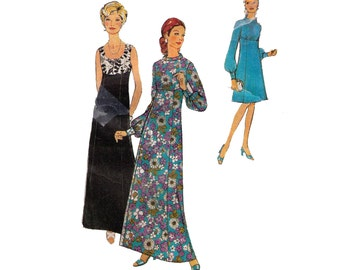 Style 3760, 70s sewing pattern, size 18 bust 41, waist 35 hips 43 sleeveless dress high bodice, gathered sleeve party dress evening gown