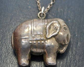 Antique Sterling SILVER Unusual CIRCUS ELEPHANT Baby's Rattle Pendant on Chain