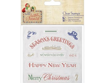 """Papermania Letter To Santa Clear Stamps 4""""X4""""  RJ3-15-LS"""