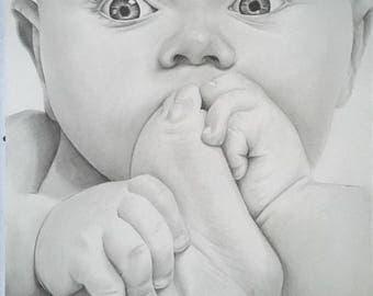 """100% cuddly"" graphite pencil portrait"