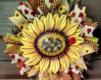 Summer Wreath for Front Door Wreath, Sunflower Wreath, Summer Floral Wreath, Sunflower Decor, Sunflower Decorations, Ladybug Wreath, Large