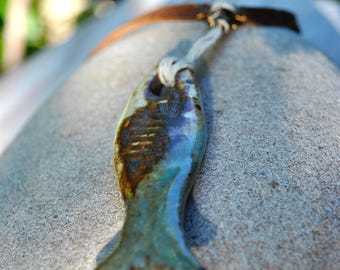 Necklace [GONE FISHING] unisex ceramics wareable art piece