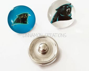 Carolina Panthers Glass Snap Charms/Buttons, Sports Team Snap Buttons, 18mm-20mm, Fits Ginger Snap & Noosa Snap Jewelry