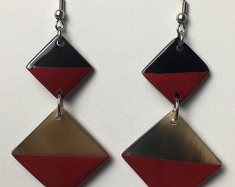 Red Lacquer Diamond Earrings