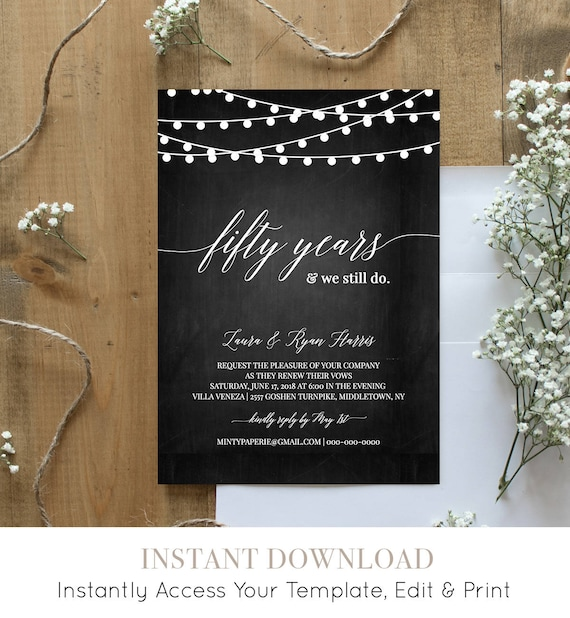Vow Renewal Invitation Template, Chalkboard Wedding Anniversay Invite, Instant Download, Renew Vows Printable, 100% Editable #014-103VR