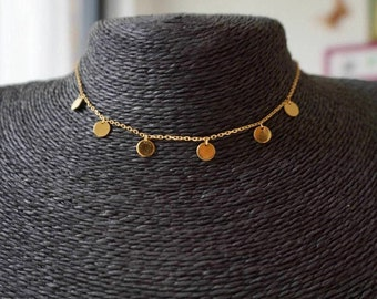 Sterling Silver Gold Disc Choker/18 K gold plated Coin Choker-SALE