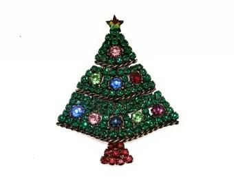 Weiss brooch Christmas rhinestone