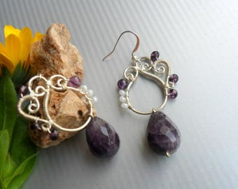 Amethyst earrings, Wire wrap earrings handmade, Silver earrings, Amethyst jewelry, Artisan, Purple Stone earrings, Birthstone jewelry