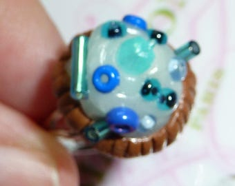 Adjustable ring adjustable silver plated cake pie whipped cream polymer clay and blue seed beads