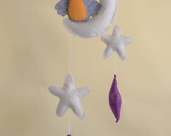 Baby mobile- gray orange owl on a cloud.