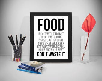 Food Buy It With Thought, Food Quote Print, Food Quote, Food Quote Poster, Food Poster, Food Prints, Food Printable, Kitchen Signs