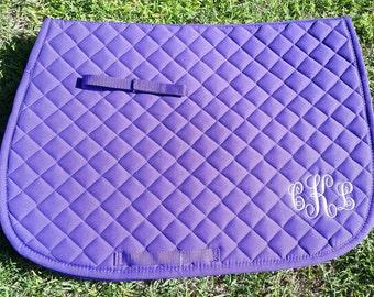 Monogrammed Saddle Pad, Personalized Saddle Pad, English Saddle Pad, Saddle Pad