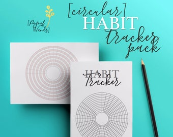 Circular Habit Tracker Grid Pack -- Bullet Journal Style Planner Page -- Goals -- Wellness -- Habits -- Business -- For A5 Filofax pages