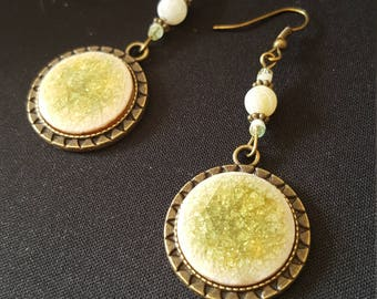 Green Ceramic - ceramic - Crackle - ethnic - Bohemian - frosted agate cabochon earrings-