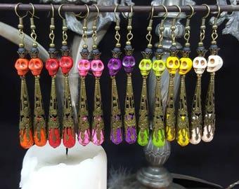 Rainbow Skulls earrings - skull - skull - Rainbow - Gothic - lace - dead - halloween