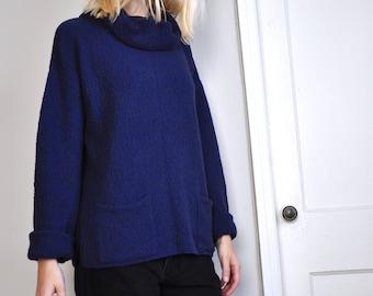 Vintage Dark Blue Cotton Cowl Neck Sweater, Made in USA