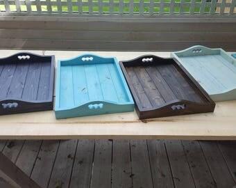 Varnished pine serving tray