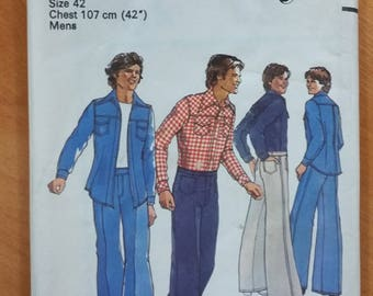 """Style 1537 Men's shirt and trousers / jeans / pants, Vintage sewing pattern 1976, Chest 42"""" UNCUT"""