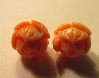 Faux Pink Coral Carved Resin Lotus Blossom Beads, 10mm, Set of 2