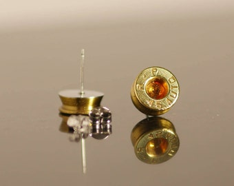 45 cal Bullet Earrings with Topaz Swarovski Crystals