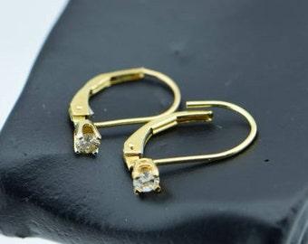 14K Yellow Gold Lever Back Diamond Earrings