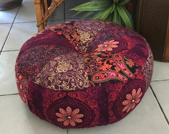 Unfilled 18 Inch Diameter Bohemian Rhapsody Pouffe Cover, Made in Australia, Boho Pouf, Floor Cushion, Meditation Cushion, Floor Seating