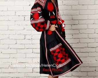 Vyshyvanka Midi Dress Linen Embroidered Dress in Boho Style. Mexican Embroidered navy Dress Linen Caftan Abaya Kaftan