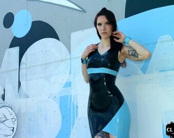"CL Design Latex Dress ""Toxic"" asymmetric with pleats sexy feminine"