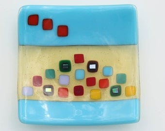 Blue and yellow fused glass bowl  with coloured squares