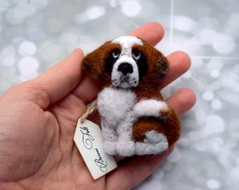 Senbernar dog brooch Pet portrait brooch Custom pet portrait Pet loss gift Cristmas dog gift Senbernar dog portrait Wool 3D brooch Wool dogs