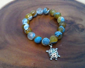 Glass Beads with Paint Graphics Turtle Charm Bracelet