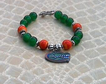Florida Gators Bracelet with Green Beads and Orange Glass Beads, Gators Beaded Bracelet, Gators Charm Bracelet, Florida State University