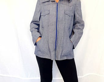 Oversize Mens Jacket Cotton zipper jacket Retro Jacket Urban Style Summer Jacket Blue LHL Vintage 1970s Mens size Medium M