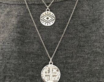 Silver Necklaces, Silver Evil Eye Necklace, Silver Disc Necklace, Evil Eye Jewelry, Christian Disc Necklace, Christian Necklace,Gift for Her