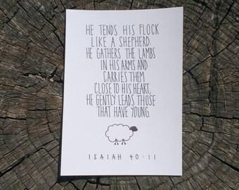 Custom Hand Lettered Print, Isaiah 40:11, Christian Scripture