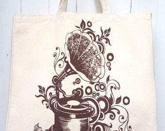 Hand Screen Printed Vintage Gramophone Design Cotton Canvas Tote Bag Shoulder Bag Beach Bag Grocery Bag Travel Bag Natural Reusable