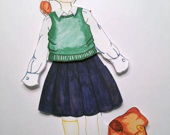 Surviving School Clothing Set for Paper Doll