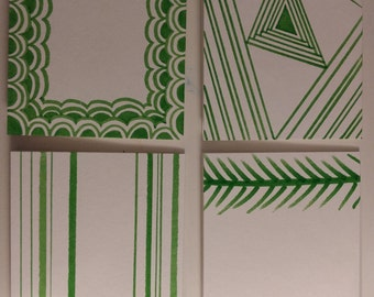 Set of Four Blank Cards - Green and White